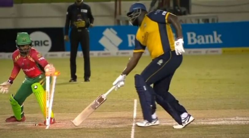 Rahkeem Cornwall run out in CPL 2019 (Pic source: TheSportsrush)