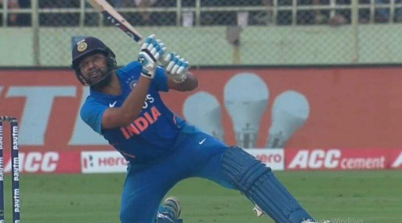 WATCH: Rohit Sharma hits a massive six even after losing the balance in Jason Holder Bowling